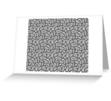 Floral pattern with leaves and branches on grey background Greeting Card