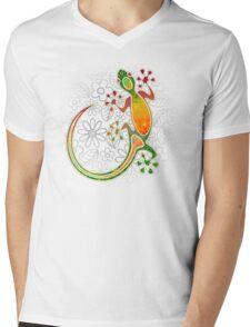 gecko flowers Mens V-Neck T-Shirt