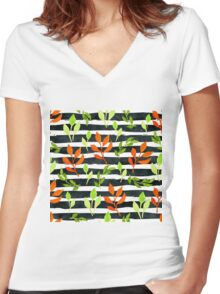 Watercolor orange leaves semless pattern on black watercolor stripes Women's Fitted V-Neck T-Shirt