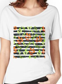 Watercolor orange leaves semless pattern on black watercolor stripes Women's Relaxed Fit T-Shirt