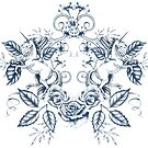 Unicorn Floral: Blue on White by LCWaterworth