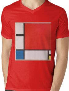 Piet Mondriaan - Mondrian Composition Ii In Red Blue And Yellow Mens V-Neck T-Shirt
