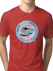 Eat Sleep Drive Repeat blue grey fan grunge Tri-blend T-Shirt