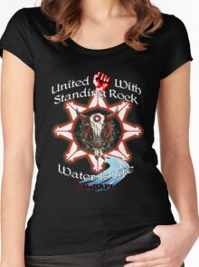 United With Standing Rock - Water is Life Women's Fitted Scoop T-Shirt