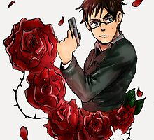 Yukio and roses by Spartaneous