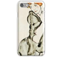 Egon Schiele - Kneeling Woman with a Gray Cape (Wally Neuzil) (1912)  iPhone Case/Skin