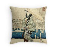 Ando Hiroshige - Eight Views Of Edo, Evening Snow At Asakusa, Date Unknown  Throw Pillow