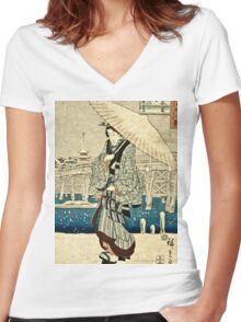 Ando Hiroshige - Eight Views Of Edo, Evening Snow At Asakusa, Date Unknown  Women's Fitted V-Neck T-Shirt