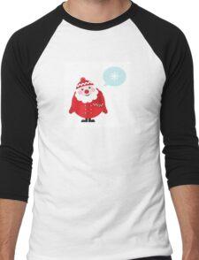 Cute vector cartoon Santa thinking Men's Baseball ¾ T-Shirt