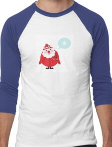 Cute vector cartoon Santa thinking Men's Baseball ¾ T-Shirt