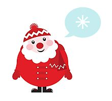 Cute vector cartoon Santa thinking Photographic Print