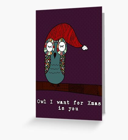 Owl I Want for Xmas Is You Greeting Card