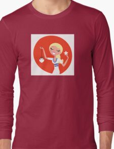 Retro blond cute Christmas Girl with decoration Long Sleeve T-Shirt