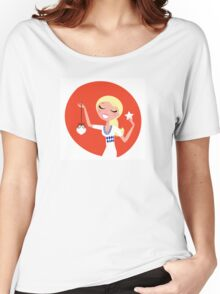 Retro blond cute Christmas Girl with decoration Women's Relaxed Fit T-Shirt