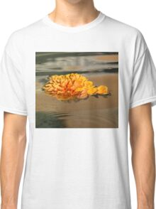 Floating Beauty - Hot Orange Chrysanthemum Blossom in Silky Fountain Classic T-Shirt