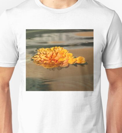 Floating Beauty - Hot Orange Chrysanthemum Blossom in Silky Fountain Unisex T-Shirt