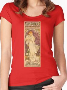Alphonse Mucha - Lady Of The Camellias Women's Fitted Scoop T-Shirt