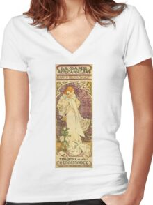Alphonse Mucha - Lady Of The Camellias Women's Fitted V-Neck T-Shirt