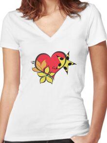 Love flower star Women's Fitted V-Neck T-Shirt