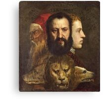 Tiziano Vecellio, Titian - An Allegory of Prudence (about 1550 65)  Canvas Print