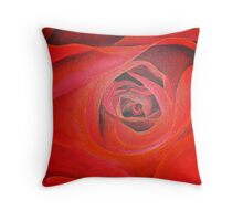 Heart Shaped Valentine Red Rose Throw Pillow