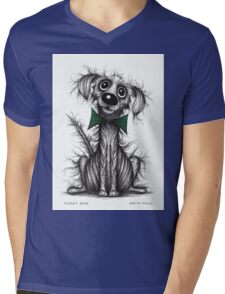Fuzzy dog Mens V-Neck T-Shirt