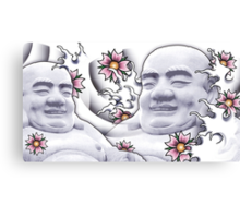 Smiling Buddah with cherry blossoms Canvas Print