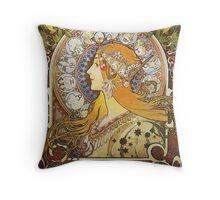 Alphonse Mucha - Ca La Plumezodiac Throw Pillow