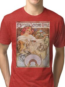 Alphonse Mucha - Biscuits Lefevre Utile Tri-blend T-Shirt