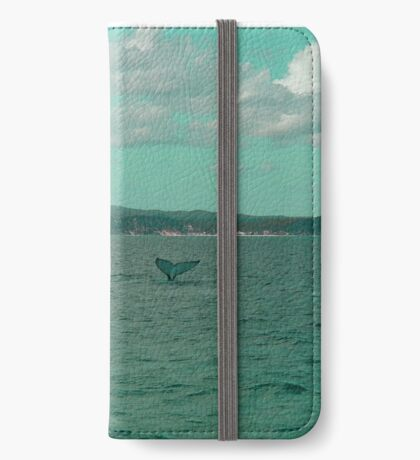 Young Humpback Waving in Turquoise iPhone Wallet/Case/Skin