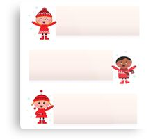 Christmas multicultural kids banner collection Metal Print