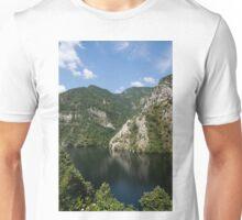 Hot Summer Limestone Cliffs - a Mountain Lake Reflection Unisex T-Shirt