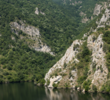 Hot Summer Limestone Cliffs - a Mountain Lake Reflection Sticker