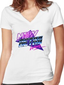 new retro wave Women's Fitted V-Neck T-Shirt