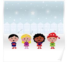 Winter Kids singing Silent Night Poster