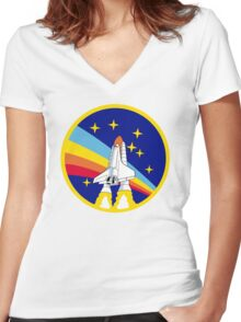 Rainbow Rocket Women's Fitted V-Neck T-Shirt