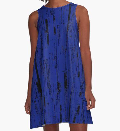 Line Art - The Bricks, black and dark blue A-Line Dress
