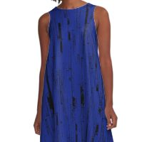 Line Art - The Bricks, black and dark blue A-Line Dress