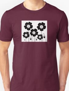Black and white simple Flower background Unisex T-Shirt