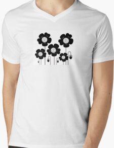 Black and white simple Flower background Mens V-Neck T-Shirt