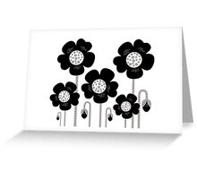 Black and white simple Flower background Greeting Card