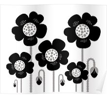 Black and white simple Flower background Poster