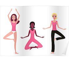 Three active women exercising yoga asana. Original hand-drawn illustration. Poster
