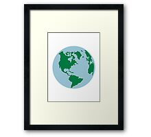 Globe world map america Framed Print