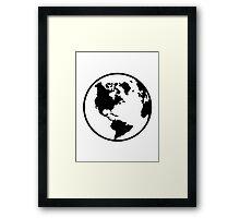 World map globe Framed Print