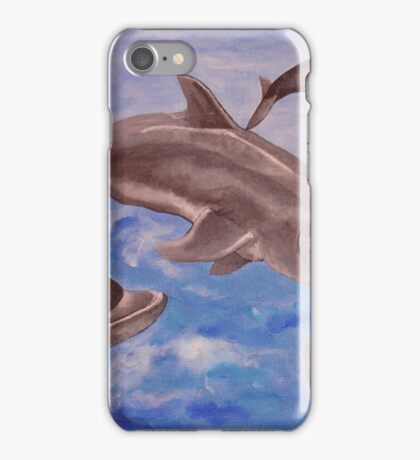 Jumping Dolphins And  Blue Sea iPhone Case/Skin