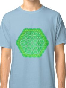Flower of Life - Green and Yellow Painted Mandala - Colourful Dots Classic T-Shirt