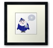 Blue Santa thinking about Snowflake cartoon Framed Print
