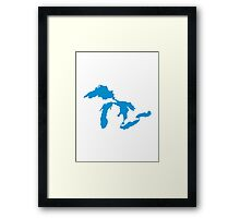 Great Lakes map Framed Print