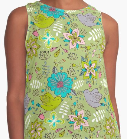 Sweet flowers and birds in flight, a cute line drawing pattern on a fun lime green background, classic statement fashion clothing, soft furnishings and home decor   Contrast Tank